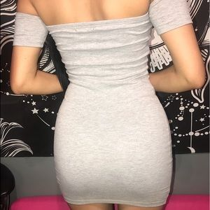 Off the should gray dress